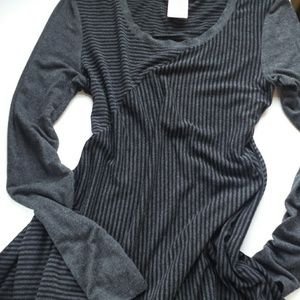 Philosophy Heather Grey/Black Stripe Tunic Dress S